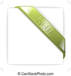 New glassy green corner ribbon