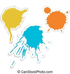 Colorful spots and spatters as stickers