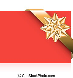 Red card with golden bow - golden ribbon with bow on the red...