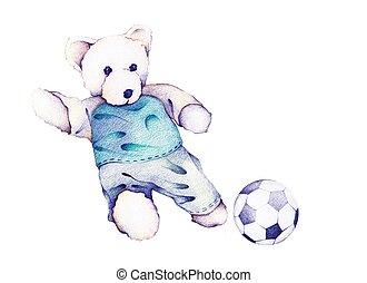 pelúcia, urso, mão, desenhado, futebol, tocando