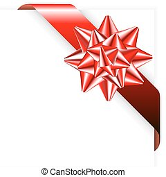 Red ribbon with bow on the paper corner