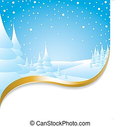 Christmas card with snowy landscape and golden ribbon