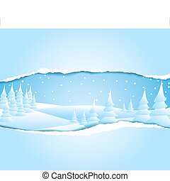 Frosty snowy winter landscape - Christmas card with frosty...