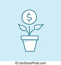 Money tree in a pot Vector line style business concept icon...
