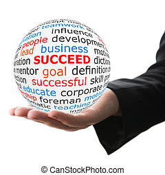 Hand take white ball with red inscription succeed - Succeed...