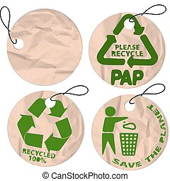 grunge paper tags for recycling - Set of round grunge paper...