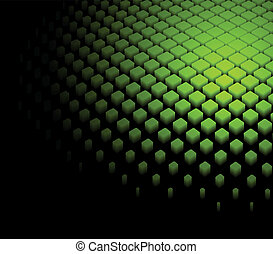 3d abstract dynamic green background on black