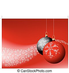 snowflakes with red and black bulbs - Christmas card -...