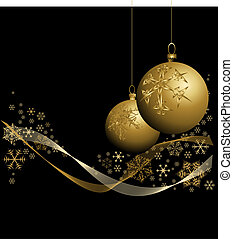 Golden Christmas baubles with snowflakes