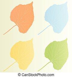 Leaves autumn background vintage set vector illustration