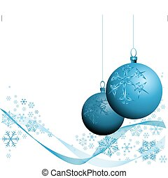 Blue Christmas decorations with snowflakes on white...