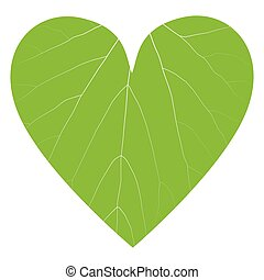 Green leaf ecology background in heart shape vector...