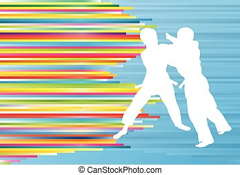 Judo fight boy vector background abstract illustration with...