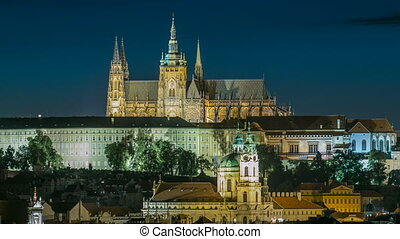 Evening view of Prague Castle over Vltava river timelapse,...