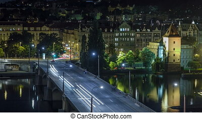 Jirasek Bridge on the Vltava river night timelapse in Prague, Czech Republic
