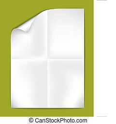 Sheet of folded white paper on a green background (vector...