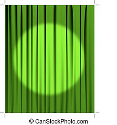 Green curtain with a spotlight