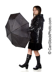 Rain No More - A young teen girl in rain gear, wondering if...