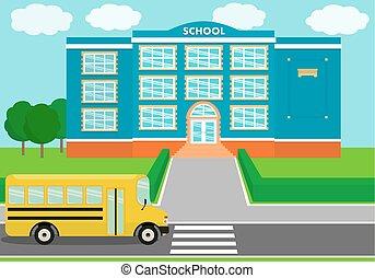 School landscape, schoolhouse, schoolbus. Vector...