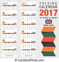 Useful foldable calendar 2017, ready for printing Open size:...