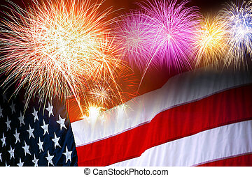 Independence Day - The American flag and fireworks in the...