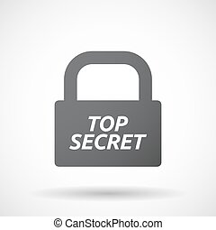 Isolated closed lock pad icon with the text TOP SECRET -...