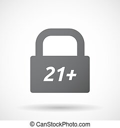 Isolated closed lock pad icon with the text 21+ -...