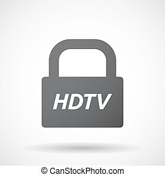 Isolated closed lock pad icon with the text HDTV -...