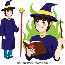 Young Wizard Standing - Young wizard character standing with...