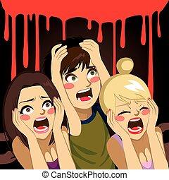Halloween Teenagers Screaming - Teenagers screaming in...