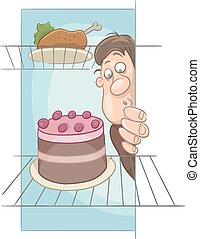 hungry man on diet cartoon - Cartoon Humorous Illustration...