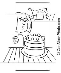 hungry woman on diet drawing - Black and White Cartoon...