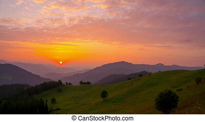 Sunrise over the Mountains. - Sunrise in Summer over the...