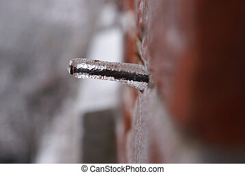 Winter Icy Nail - An abstract image of a winter iced...
