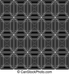 Seamless pattern of white lines on a black background. -...
