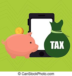 smartphone piggy taxes vector illustration eps 10