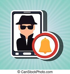 man smartphone detective secure vector illustration eps 10