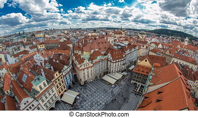 aerial panoramic view of Old Town Square neighborhood...