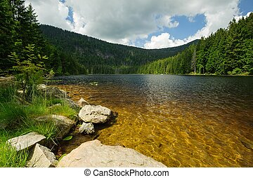 Mountain lake in Sumava - Lake with rocks in the middle of...