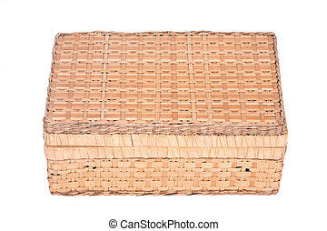 Vintage seagrass box separated on white background