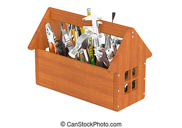 Wooden toolbox with tools, 3D rendering