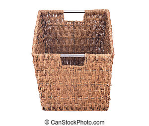 Vintage seagrass storage basket separated on white...