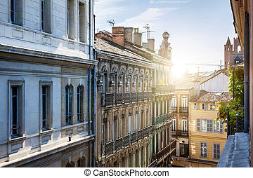 View in Toulouse - View from a window at old city street and...
