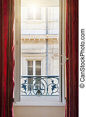 Open window in Toulouse - View of european building from an...