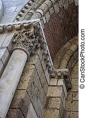 Saint Sernin Basilica architectural detail - Brick and stone...
