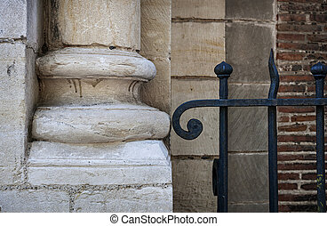 Stone and metal - Old stone column plinth or bottom and...