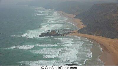 Beaches Cliffs And Fog Along Sea Coast