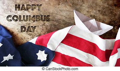 Happy Columbus Day. USA Flag And Wood.