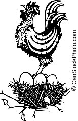 Woodcut Rooster on nest - Woodcut rooster crowing on a nest...