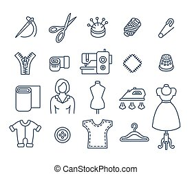 Sewing tools flat thin line vector icons - Sewing icons flat...